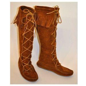 Minnetonka Front Lace Hardsole Knee-Hi Suede Boots